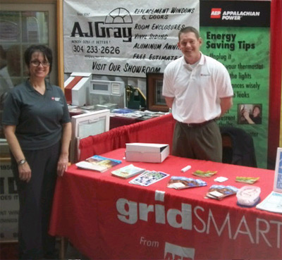 Carmen Prati-Miller, Appalachian Power external affairs manager, and Travis Paxton, Good Cents operations manager, spoke with customers about energy efficiency recently at the Wheeling Home and Garden Show.