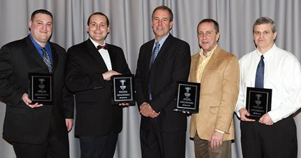 Generation Sector award winners (left to right): Gregory Berg, Michael Crichton, Tom Alley (EPRI vice president of Generation), Thomas Hart and Michael Finneran.
