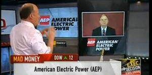 "Jim Cramer (left) , host of CNBC-TV's ""Mad Money"" show, discusses renewables and environmental concerns with AEP CEO Nick Akins."