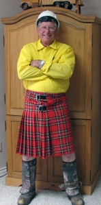At his recent retirement party, Allen  Doubrava received a kilt (gag gift) to complement the helmet, steel-toed boots, camouflaged leggings and fire-retardant shirt he wears to work.