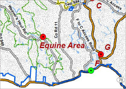"The Employee and Retiree Trail Ride will be held at AEP ReCreation Land's Equine Activity Area in Morgan County near McConnelsville, Ohio. The location marked ""F"" above is the Miner's Memorial Park; ""C"" and ""G"" are camping areas."