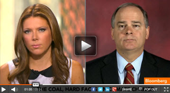 "Nick Akins (right) is interviewed by Trish Regan during a segment of Bloomberg TV's ""In the Loop"" show."