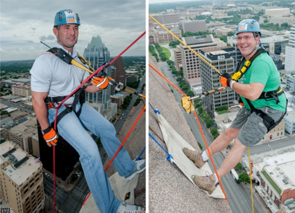 "Patrick Tarlton (left) and Calvin Crowder go ""Over the Edge"" for the Make-A-Wish Foundation."