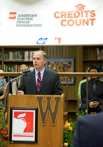 AEP CEO Nick Akins presents details of  the Credits Countsm program during a ceremony at West High School in Columbus, Ohio.