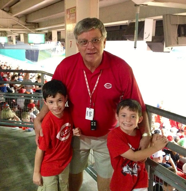 Former AEP employee and current Cincinnati Reds usher Larry Robinson (center) enjoys a day at the Great American Ballpark with his two grandsons Sammy (left) and Brady.
