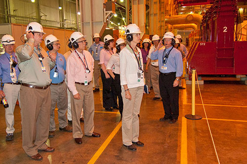 Nuclear Regulatory Commission Chair Allison Macfarlane (center) and U.S. Rep. Fred Upton on a tour of D.C. Cook Nuclear Plant.