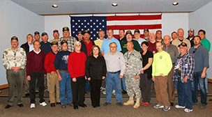 Public Service Company of Oklahoma employee veterans gathered for a group photo Nov. 11 at PSO's Tulsa offices.