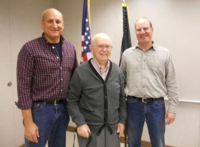 Honoring World War II U.S. Army veteran Fred Koehler (center) are Chuck George, Cardinal Plant manager (left) and Steve Koehler, maintenance planner.