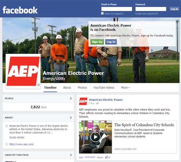 AEP added 15,537 fans of its Facebook pages (AEP and each of its operating companies have Facebook pages) during 2014, increasing its total fans to 61,530.
