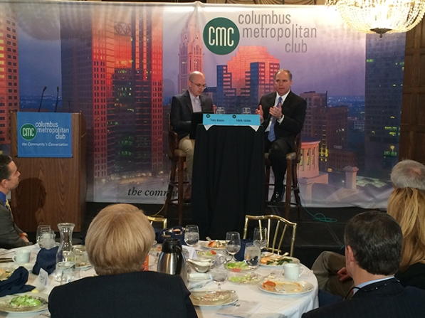 "AEP CEO Nick Akins (right) answers a question posed by Tom Knox (left), a reporter from Columbus Business First newspaper, during the ""Fueling Ohio's Future"" event Jan. 14 at the Columbus Metropolitan Club. Photos by Jennah Nelson."