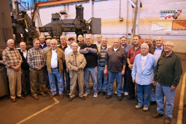 Central Machine Shop retirees (shown above) and employees came together recently for a luncheon to celebrate 40 successful years of service and four years of injury-free work.