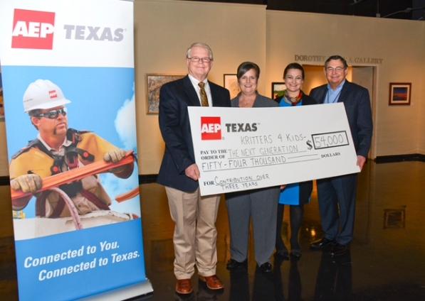 Shown announcing the three-year contribution to help revise and update the Wildlife in Focus Kritters 4 Kids wildlife education program are (from left): Bruce Hoffman, Wildlife in Focus board president; Crystal Mead, Wildlife in Focus executive director; Dianna Bluntzer Sherman, managing director of the Art Center of Corpus Christi; and Julio Reyes, AEP Texas vice president of External Affairs.