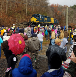 The Santa Train arrives in Haysi, Va.